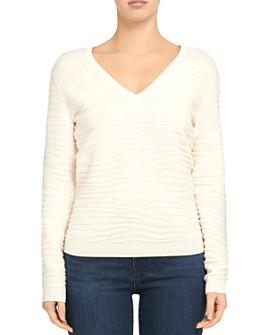 Theory - Plush V-Neck Zebra Sweater