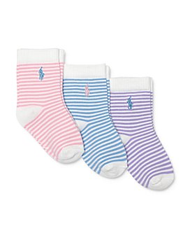 Ralph Lauren - Girls' Striped Socks, 3 Pack - Baby