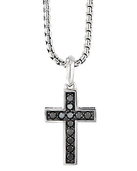 David Yurman - Sterling Silver Cross Pendant with Pavé Black Diamonds