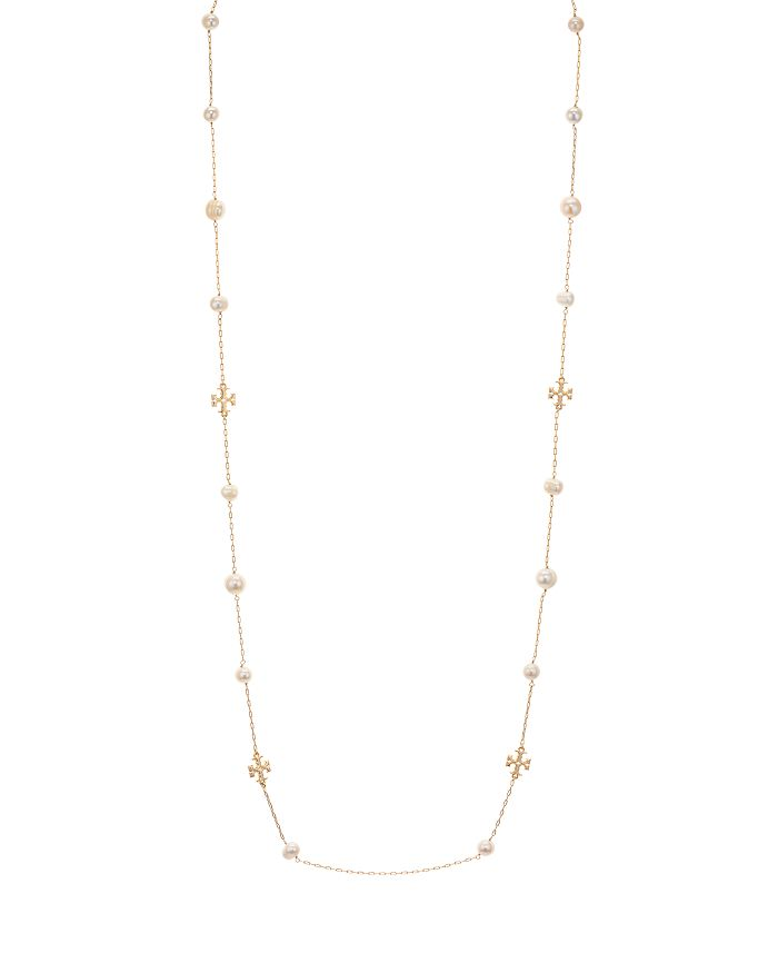 """Tory Burch - Kira Pearl Rosary Necklace in 18K Yellow Gold Plating, 40.5"""""""