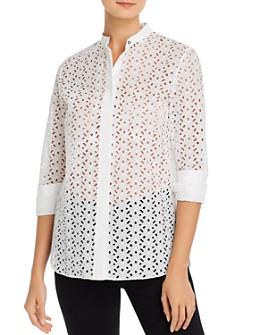 Theory - Daisy Eyelet Cotton-Silk Combo Shirt