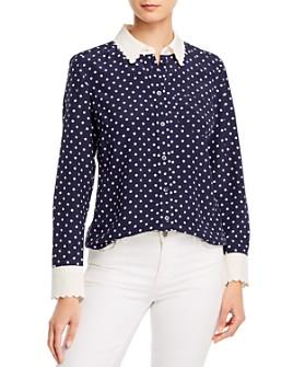 Tory Burch - Scalloped-Edge Silk Dot-Print Shirt