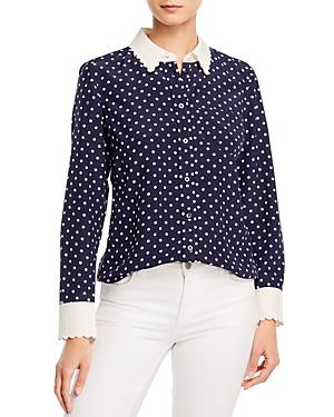 Tory Burch Scalloped-Edge Silk Dot Print Shirt