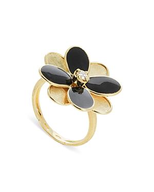Marco Bicego 18K Yellow Gold Petali Diamond & Enamel Flower Ring