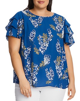 VINCE CAMUTO Plus - Weeping Willows Floral-Print Tiered-Sleeve Top