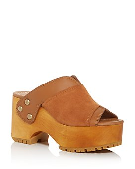 See by Chloé - Women's Saya Peep-Toe Wedge Platform Clogs