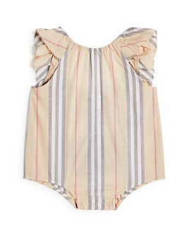 Burberry - Girls' Ruffled Icon Stripe Bodysuit - Baby