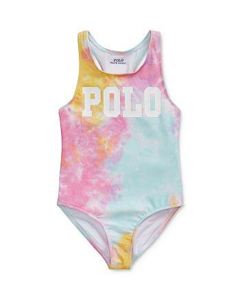 Ralph Lauren - Girls' Tie-Dyed Polo One-Piece Swimsuit - Little Kid