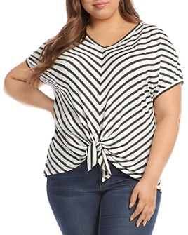 Karen Kane Plus - Striped Tie-Front Top