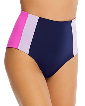 L*Space - Portia Colorblocked High-Waist Bikini Bottom