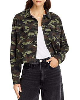 AQUA - Cotton Cropped Camo Print Jacket - 100% Exclusive
