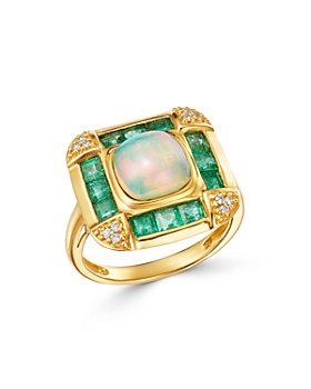 Bloomingdale's - Opal, Emerald & Diamond Statement Ring in 14K Yellow Gold - 100% Exclusive