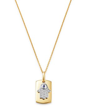 """Bloomingdale's - Blue Sapphire & Diamond Hamsa Hand Dog Tag Pendant Necklace in 14K Yellow Gold, 18"""" - 100% Exclusive"""