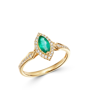 Bloomingdale's Emerald & Diamond Halo Ring in 14K Yellow Gold - 100% Exclusive