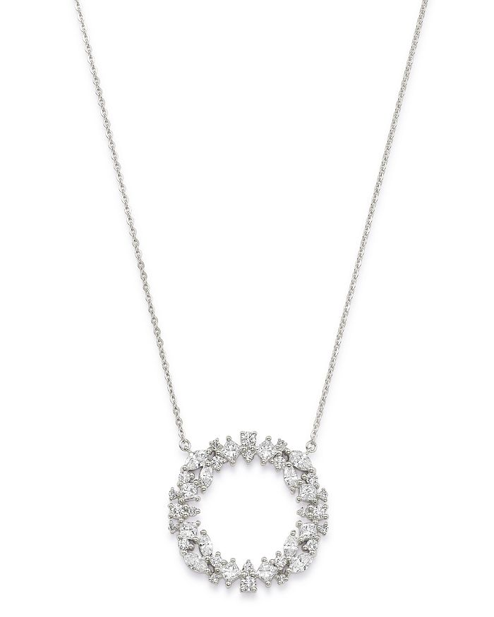 """Bloomingdale's - Diamond Scatter Circle Pendant Necklace in 14K White Gold, 16-18"""" - 100% Exclusive"""
