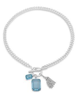 """Ralph Lauren - Silver-Tone Stone Square & Chain Tassel Pendant Necklace, 17"""""""