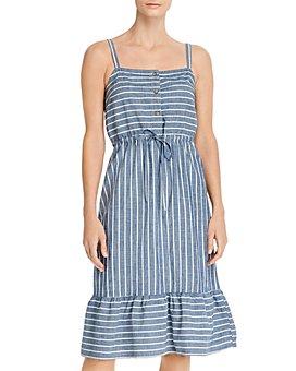 Vero Moda - Chambray Striped A-Line Dress