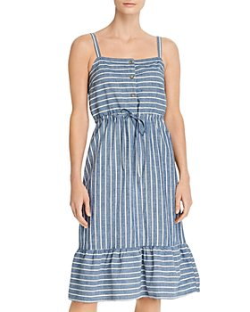 Vero Moda - Chambray Striped A-Line Dress
