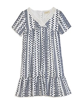 Hayden Los Angeles - Girls' Geo-Print Lace-Trimmed A-Line Dress - Big Kid