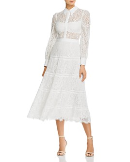 Alice and Olivia - Anaya Tiered Midi Lace Sheath Dress