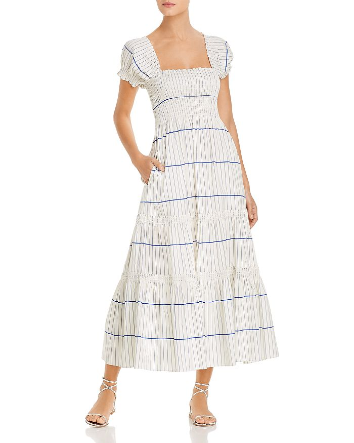 Tory Burch - Striped Smocked Midi Dress