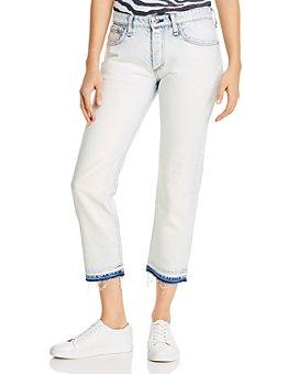 rag & bone - Rosa Cotton Released-Hem Boyfriend Jeans in Desert White