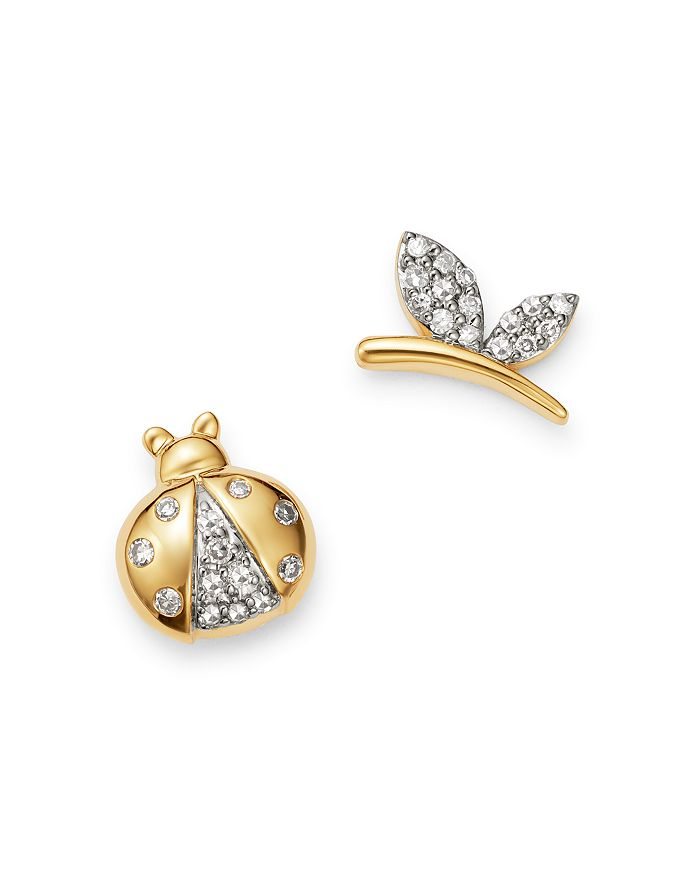 Adina Reyter - 14K Yellow Gold Garden Diamond Pavé Lady Bug & Butterfly Mismatch Stud Earrings - 100% Exclusive