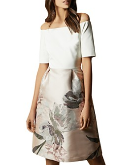 Ted Baker - Cathiey Woodland Off-the-Shoulder Jacquard Dress