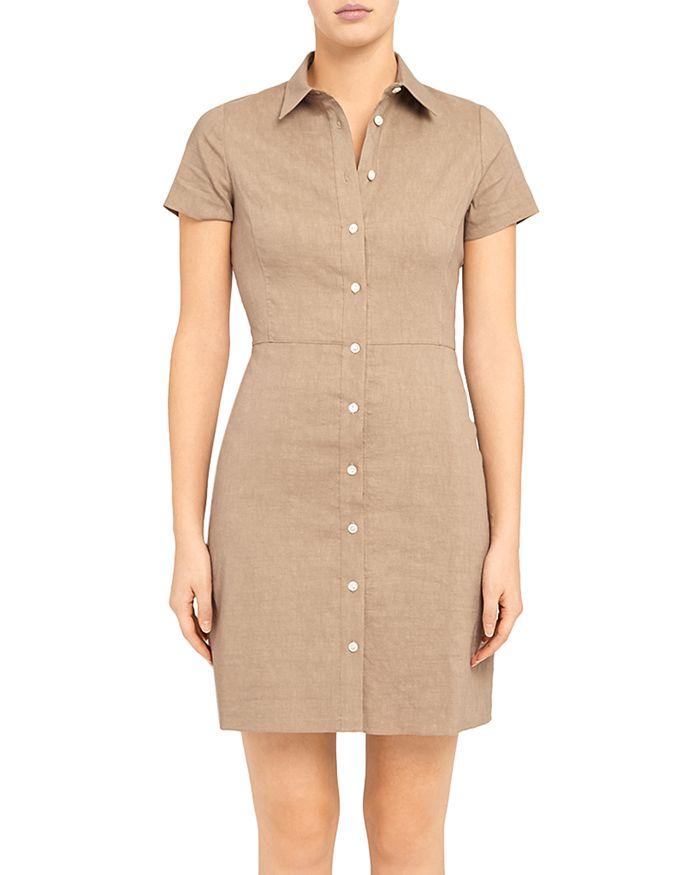 Theory - 'Good Linen' Button-Up Shirtdress