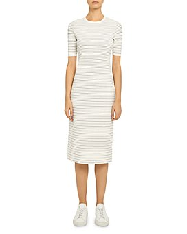 Theory - Ribbed Stretch Knit Striped Midi Dress