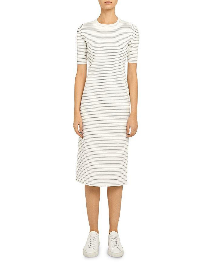 Theory - Ribbed Stretch Knit Striped Midi Dress