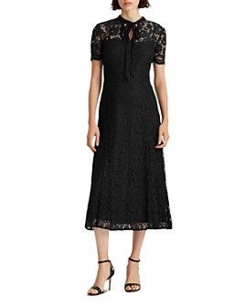 Ralph Lauren - Lace Tie-Neck Fit-And-Flare Dress