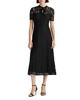 Ralph Lauren - Lace Tie-Neck Fit-And-Flare Dress