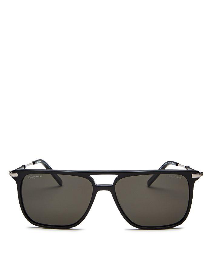 Salvatore Ferragamo - Men's Polarized Brow Bar Square Sunglasses, 57mm