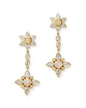 Bloomingdale's - Diamond Flower Drop Earrings in 14K Yellow Gold, 2 ct. t.w. - 100% Exclusive