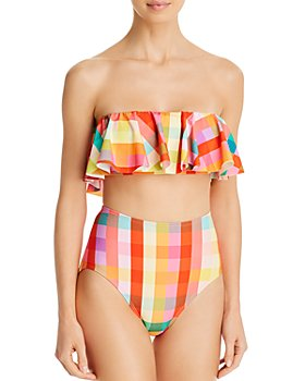 kate spade new york - Printed Ruffled Bandeau Bikini Top & Printed High-Waist Bikini Bottom