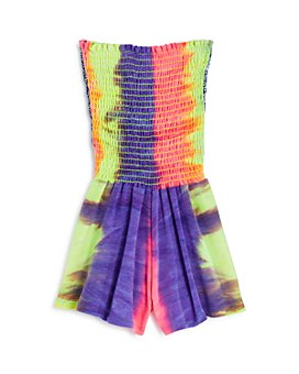 Vintage Havana - Girls' Tie-Dyed Smocked Romper - Big Kid