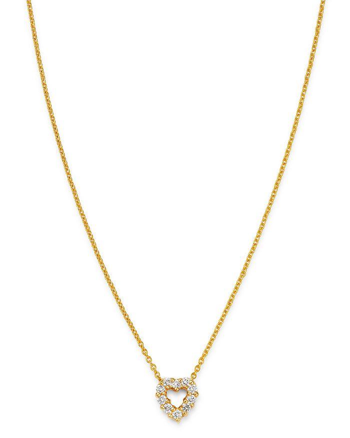"""Roberto Coin - 18K Yellow Gold Diamond Baby Heart Pendant Necklace, 16""""-18"""""""