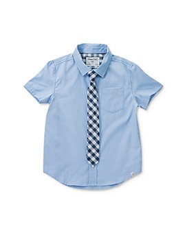 Sovereign Code - Boys' Cotton Short-Sleeve Shirt & Plaid Tie - Little Kid