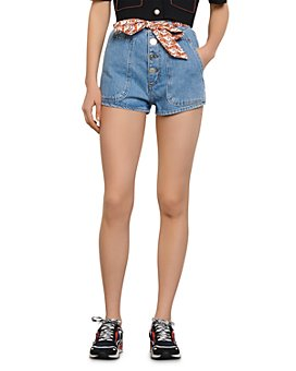 Sandro - Jamy Denim Shorts with Removable Scarf Tie