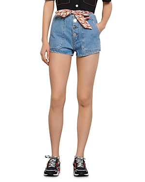 Sandro Jamy Denim Shorts with Removable Scarf Tie