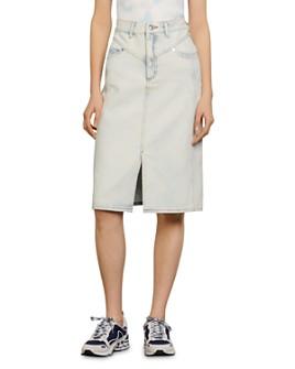 Sandro - Light-Washed Denim Skirt