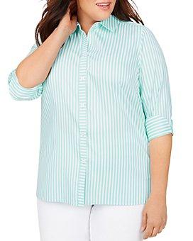 Foxcroft Plus - Morgan Non-Iron Stretch Striped Shirt