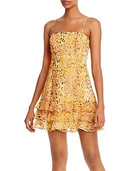 Bardot - Snakeskin-Printed Ruffled-Hem Dress