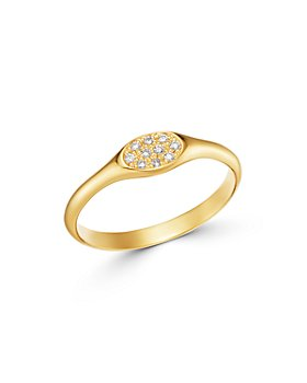 Zoë Chicco - 14K Yellow Gold Pavé & Bead Set Diamonds Diamond Cluster Signet Ring