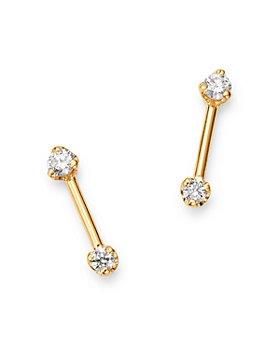 Zoë Chicco - 14K Yellow Gold Prong Diamonds Diamond Barbell Stud Earrings