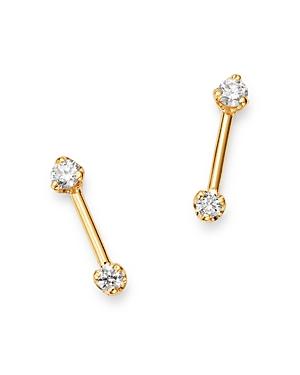 Zoe Chicco 14K Yellow Gold Prong Diamonds Diamond Barbell Stud Earrings