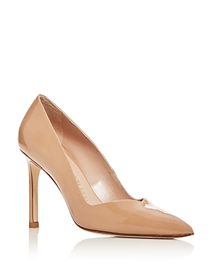 Stuart Weitzman Women\\\'s Anny Pointed-Toe Curved Pumps