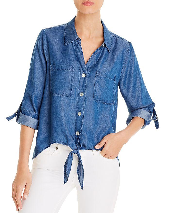 Alison Andrews Tied Hem Denim Shirt In Medium Indigo
