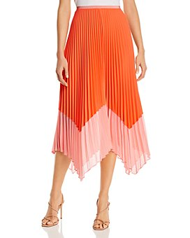 FRENCH CONNECTION - Ali Pleated Two-Tone Midi Skirt